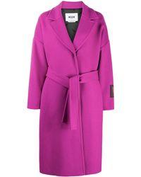 MSGM - Cappotto con cintura - Lyst