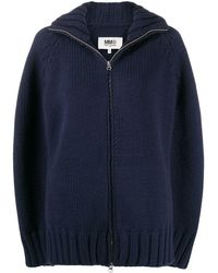 MM6 by Maison Martin Margiela Cape-style Zip-up Cardigan - Blue