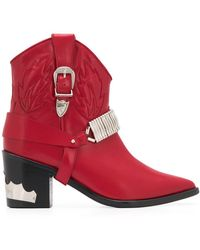 Toga Western Ankle Boots - Red