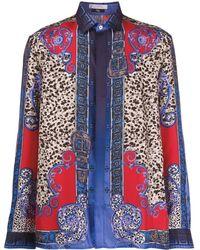 Versace レオパード シャツ - ブルー