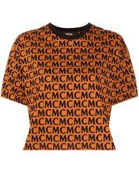 MCM Monogram Print T-shirt - Brown