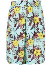Laneus Pantalones cortos de deporte con motivo floral - Azul