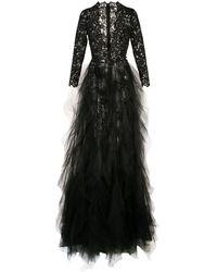 Oscar de la Renta Plunging Neckline Gown With Dramatic Skirt - Black