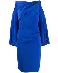 Talbot Runhof Платье Миди С Драпировкой И Вырезами - Синий