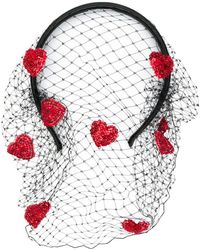 RED Valentino Red(v) Hearts Headband - Black