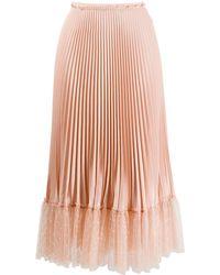 RED Valentino チュールヘム プリーツスカート - ピンク