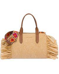 Miu Miu Straw Handbag With Fringe - Multicolour