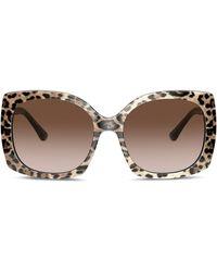 Dolce & Gabbana Солнцезащитные Очки Family В Квадратной Оправе - Коричневый