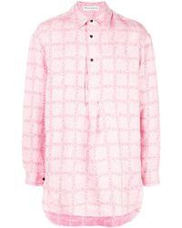 JW Anderson Camisa de cuadros con logo - Rosa