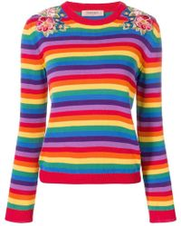 Twin Set - Floral Embroidered Striped Jumper - Lyst