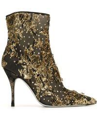 Rene Caovilla Lurexa 100mm Embroidered Ankle Boots - Metallic
