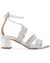 Aquazzura Wave Strap Sandals - Metallic