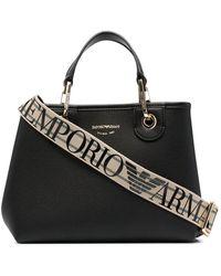 Emporio Armani ロゴ ハンドバッグ - ブラック