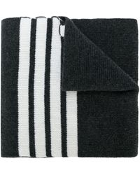Thom Browne Full Needle Rib Scarf With White 4-bar Stripe In Cashmere - Grijs
