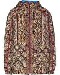 Paria Farzaneh Geometric Print Hooded Jacket - Red