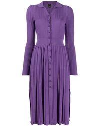 Pinko Трикотажное Плиссированное Платье Миди - Пурпурный