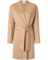 CASASOLA - Collarless Belted Coat - Lyst