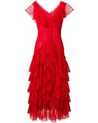 Alexander McQueen Ruffled Dress - Red