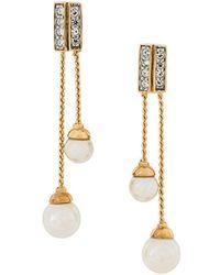 Nina Ricci 1980s Vintage Nina Ricci Drop Faux Pearl Earrings - Metallic