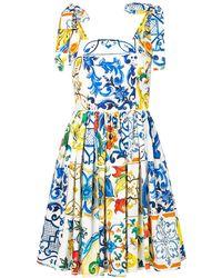 Dolce & Gabbana Majolica Print Dress - White