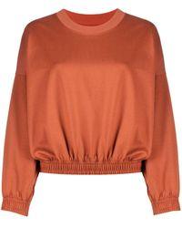 Styland Long-sleeved Elasticated Hem Jumper - Brown