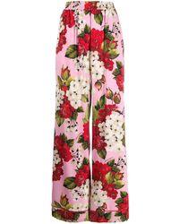 Dolce & Gabbana - フローラル ハイウエストパンツ - Lyst