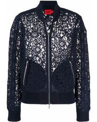 HUGO Lace Embroidered Bomber Jacket - Blue