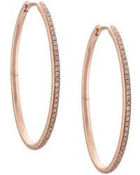 Eva Fehren 18kt Rose Gold Medium Infinity Diamond Hoops - Metallic