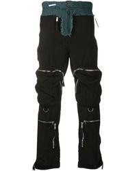 Maison Mihara Yasuhiro Pantalon cargo à design structuré - Noir
