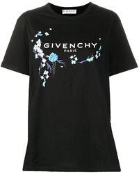 Givenchy - フローラル ロゴ Tシャツ - Lyst