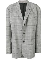 Balenciaga チェック シングルジャケット - グレー