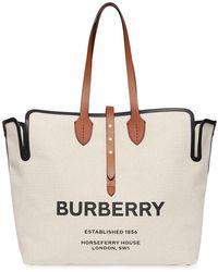 Burberry Grand sac cabas The Belt bi-matières - Blanc