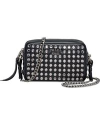 27ed913c896 Gucci Leather Mini Chain Bag With Double G And Crystals in Black - Lyst