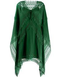 Self-Portrait Платье-кафтан С Вышивкой - Зеленый