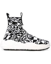 Versus Checkered Hi-top Sneakers - Black