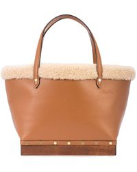 Altuzarra Clog Small Shearling-trimmed Leather Bag - Brown