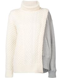 Sacai - Layered Cable Knit Tabard Sweatshirt - Lyst
