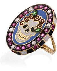 Holly Dyment 18k yellow gold Skull Sunday diamond sapphire ring - Multicolore