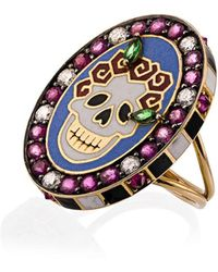Holly Dyment 18k Yellow Gold Skull Sunday Diamond Sapphire Ring - Multicolour