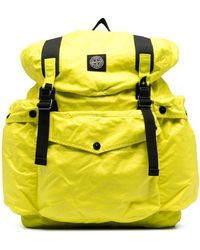 Stone Island Logo-patch Buckled Backpack - Yellow