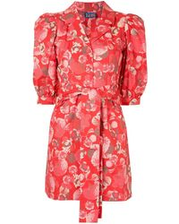 LHD Casitas Floral Shirt Dress - Red