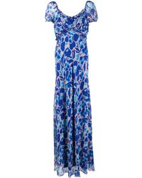 Diane von Furstenberg フローラル ロングドレス - ブルー