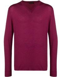 Altea Fine Knit V-neck Jumper - Purple