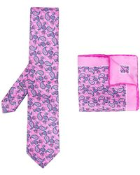 Canali Paisley-print Tie And Pocket Square - Pink