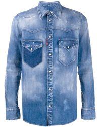 DSquared² Camisa vaquera con efecto degradado - Azul