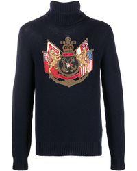 Ralph Lauren Purple Label Coat Of Arms カシミア セーター - ブルー