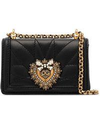 Dolce & Gabbana Devotion キルティング レザーバッグ - ブラック