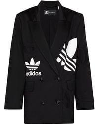 adidas Logo-print Double-breasted Blazer Jacket - Black