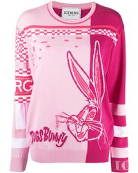 Iceberg Bug Bunny Sequin-embroidered Sweater - Pink