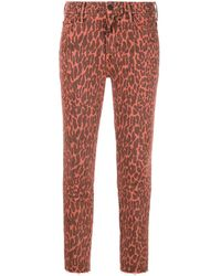 Mother Leopard Print Skinny Jeans - Red